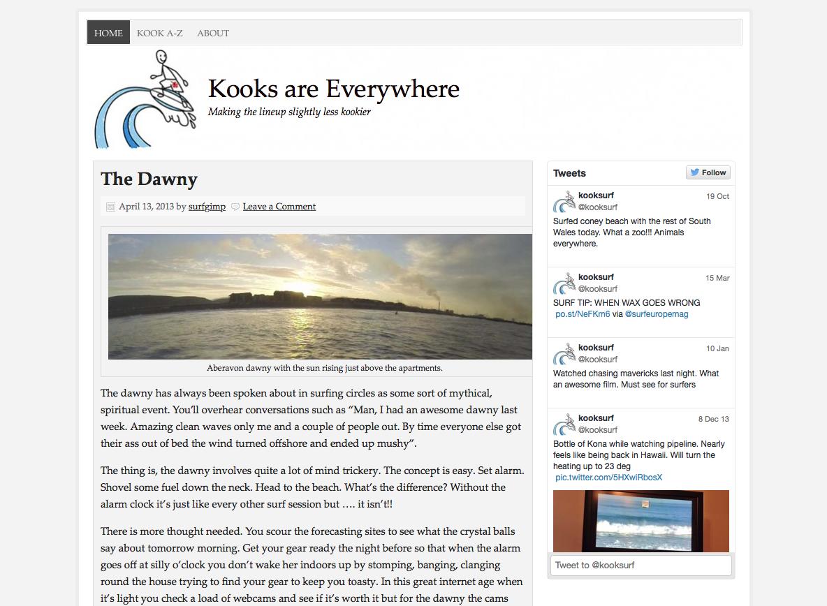 Wordpress powered kooksurf.co.uk